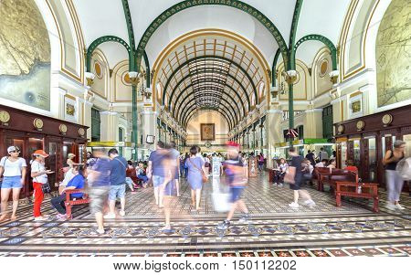 Ho Chi Minh City, Vietnam - October 2nd, 2016: Interior of Saigon Central Post Office. It was built by the French in 1886 and is now a tourist attraction Popular in Ho Chi Minh city, Vietnam.
