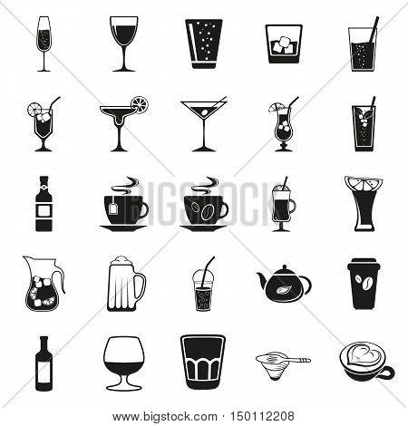 Drink beverage potables potable drinkables simple black icon set on white