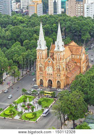 Ho Chi Minh City, Vietnam - October 2nd, 2016: Notre Dame cathedral architecture Beauty buildings over a hundred years old in Ho Chi Minh City, Vietnam. The church is established by French colonists.