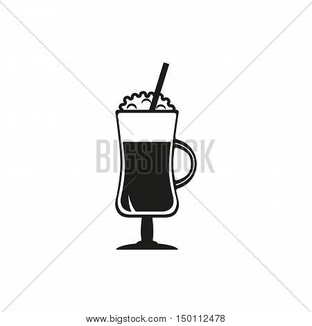 Coffee cocktail vector icon set. Hot chocolate latte irish cream glass with cream on top. Simply black design sign on white background
