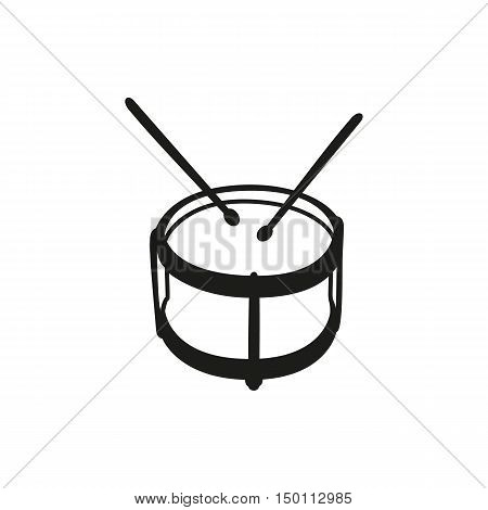 Black simple musical instruments drumstick drum isolated drum vector kid icon isolated on white background. Elements for company  print products page and web decor. Vector illustration.
