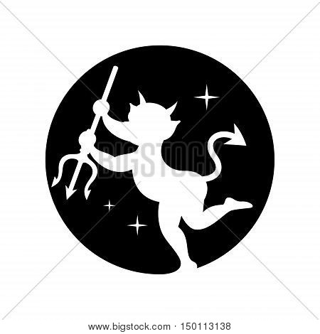 Heck with trident. Isolated on a white Background