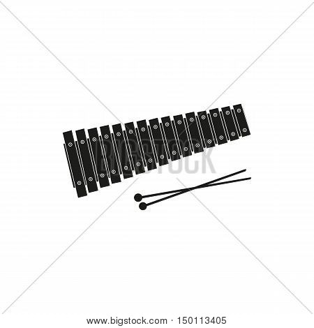 Black simple Xylophone icon isolated on white background. Elements for company print products page and web decor. Vector illustration.