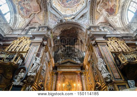 Interior Of The Church Of San Matteo In Palermo, Sicily, Italy.