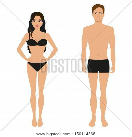 Vector illustration of a athletic girl and a guy in his underwear on an isolated white background.