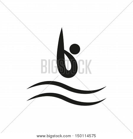 A man diving into water. Boy diving in swimming pool. Diving boy flat design. Diving boy Vector. A boy jumping in water illustration.