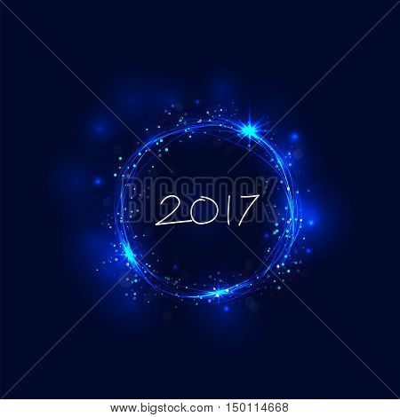 Happy new year 2017 holiday background.2017 Happy New Year greeting card.Happy new year 2017 and abstract burning circles with glitter swirl trail effect background.Glowing lights.Vector illustration
