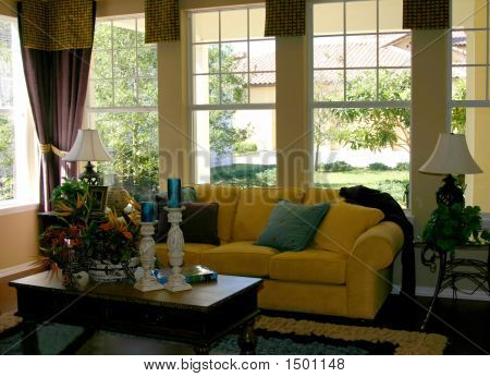 Comfortable Yellow Couch In Family Living Room
