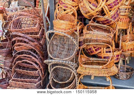 many bamboo basket in the big market