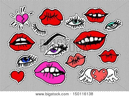 Fashion modern doodle cartoon patch badges or sti?kers with sexy kiss red lips eye lashes hearts, glances. Set of cartoon pins in 80s 90s pop art. Vector Illustration.