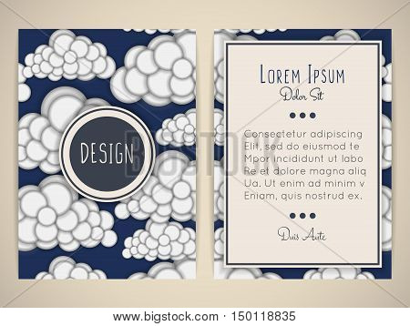 Cover design with sky. Pattern with clouds. Background with heaven. Convex round shapes. Brochure flyer invitation card or book cover. Blue and white colors. Size a4. Vector illustration eps10.