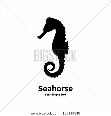 Vector illustration of black silhouette of a sea horse isolated on white background. side view profile.