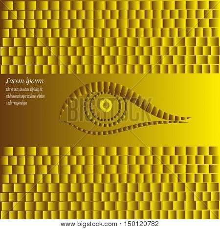 Design  yellow background and logo Abstract Projects , author  seeing eye with the effect of 2D parallel symmetrically text shadow eps10 vector illustration gray brown square rectangle pattern Stock