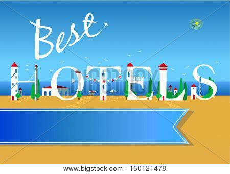 Best hotels. Travel card. White buildings on the summer beach. Blue banner for custom text. Plane in the sky.