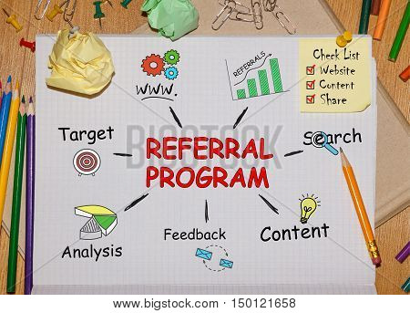 Notebook with Toolls and Notes about Referral Programconcept