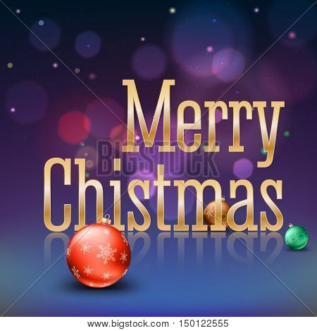 Greeting card with a big golden inscription Merry Christmas and color Christmas balls with snowflakes on a magical background with flares and glowing. Template for your greeting cards