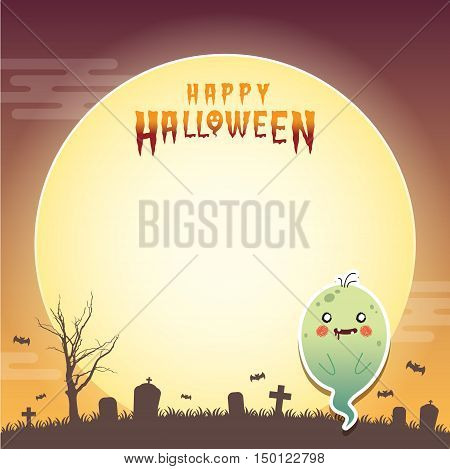 Happy halloween vector illustration. Cute ghost with zombie cosplay and cemetery. Halloween cartoon character design for notepad, memo, message board.