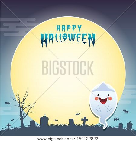 Happy halloween vector illustration. Cute japanese ghost and cemetery. Halloween cartoon character design for notepad, memo, message board.