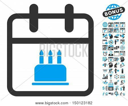 Birthday Cake Calendar Page pictograph with bonus calendar and time management pictograph collection. Vector illustration style is flat iconic bicolor symbols, blue and gray colors, white background.