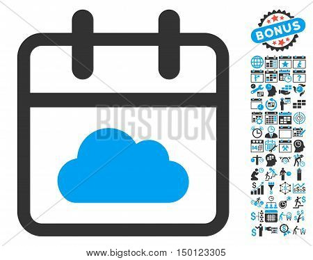 Cloudy Day Calendar Page pictograph with bonus calendar and time management symbols. Vector illustration style is flat iconic bicolor symbols, blue and gray colors, white background.
