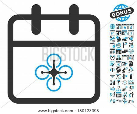 Drone Day pictograph with bonus calendar and time management images. Vector illustration style is flat iconic bicolor symbols, blue and gray colors, white background.