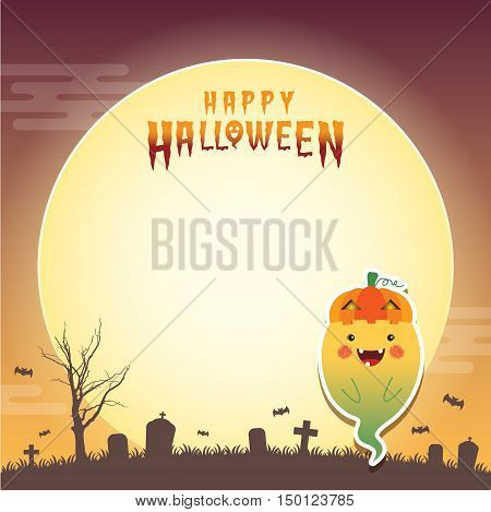 Happy halloween vector illustration. Cute ghost with jack o lantern cosplay and cemetery. Halloween cartoon character design for notepad, memo, message board.