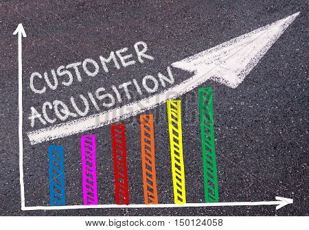 Customer Acquisition Written Over Colorful Graph And Rising Arrow