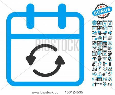 Update Day icon with bonus calendar and time management design elements. Vector illustration style is flat iconic bicolor symbols, blue and gray colors, white background.