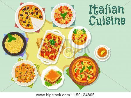 Italian cuisine marinara and margherita pizza icon with seafood, tomato and mozzarella toppings served with risotto, lasagna, mushroom pasta, chicken risotto, cannelloni pasta with fish filling