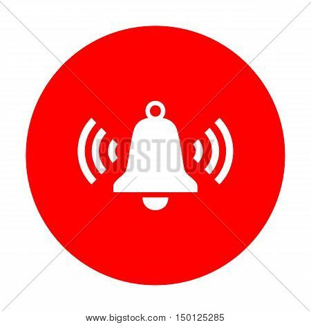 Ringing Bell Icon. White Icon On Red Circle.