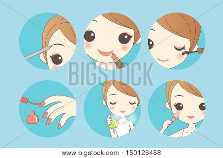 cartoon woman make up grear for your design