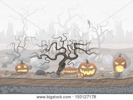 Fog day scary horror halloween background with pumpkins and trees