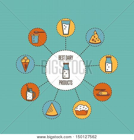 Assortment of different dairy products icons around glass bottle with milk, isolated compositions on perpl background, vector illustrations in line style design. Best dairy products banner.