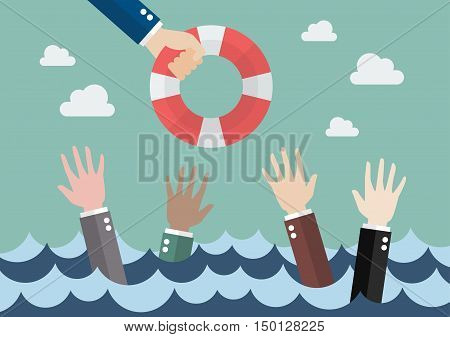 Drowning businessmen getting only one lifebuoy from other businessman