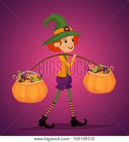 Cartoon girl in Halloween costume with hat magician comes with treats in pumpkin vector illustrations. Halloween kids concept. Beggars Night holiday. Halloween pumpkin. All Hallows Evening. Cartoon vector illustration. Halloween concept.