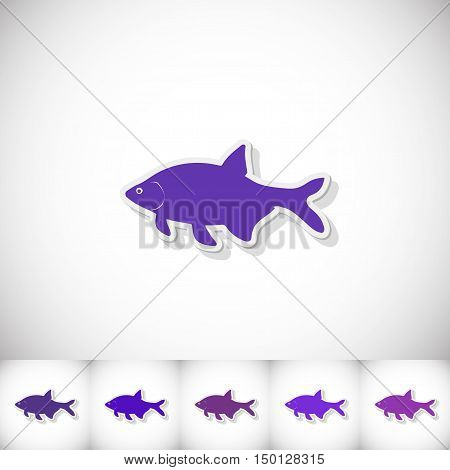 Fish bream. Flat sticker with shadow on white background. Vector illustration