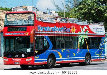 Varadero, Cuba - September 11, 2016:  Varadero tourism bus Dirves in Varadero City, Cuba