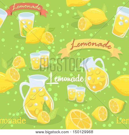 Seamless pattern illustration of a pitcher of lemonade, glass of lemonade, and lemon fruit in green background.