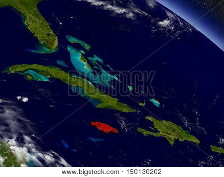 Jamaica From Space Highlighted In Red