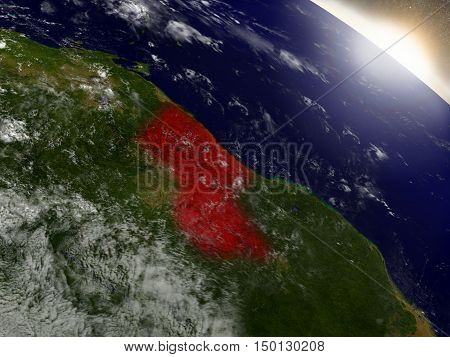 Guyana From Space Highlighted In Red