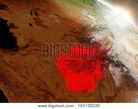 Afghanistan From Space Highlighted In Red