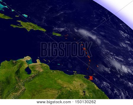 Caribbean From Space Highlighted In Red