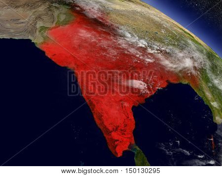 India From Space Highlighted In Red