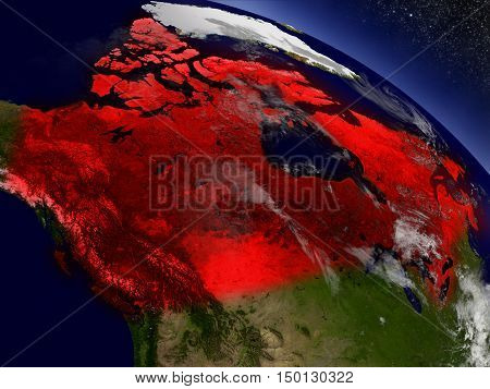 Canada From Space Highlighted In Red