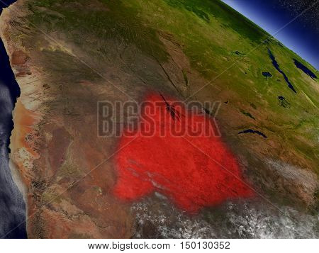 Botswana From Space Highlighted In Red