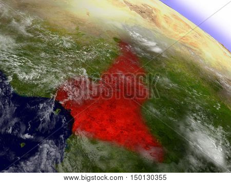 Cameroon From Space Highlighted In Red