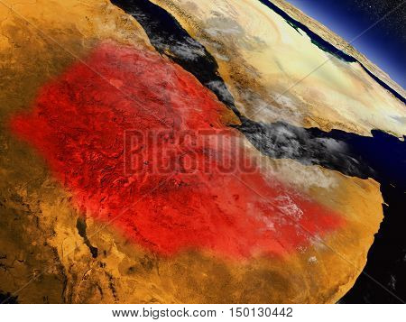 Ethiopia From Space Highlighted In Red