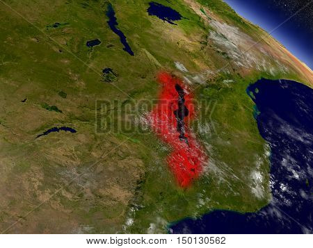Malawi From Space Highlighted In Red