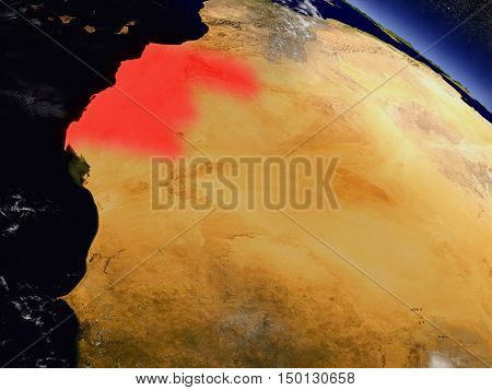 Western Sahara From Space Highlighted In Red