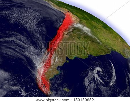 Chile From Space Highlighted In Red